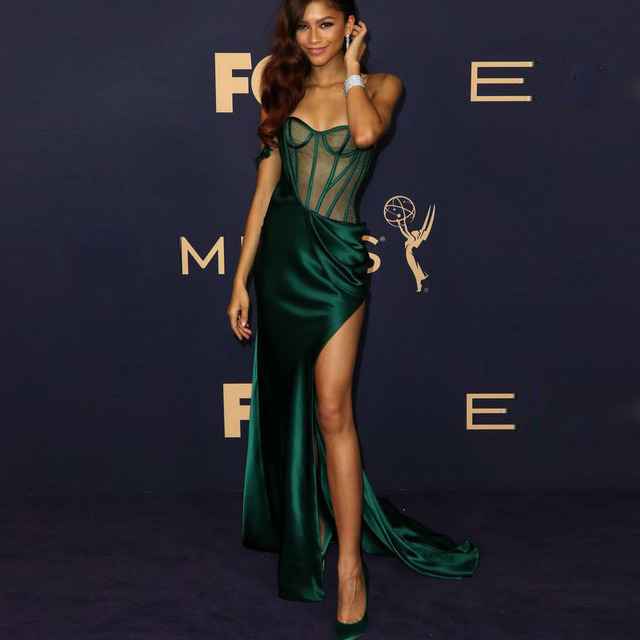 Emerald Green Mermaid Evening Dress Sexy See Through High Slit Prom Dresses Customized Celebrity Gown Occasion Formal Wear Cheap