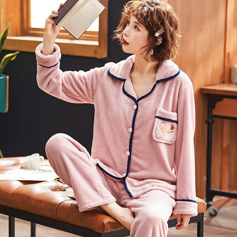 Women Pajama Sets Winter Warm Coral Fleece Women Pajamas Set For Women Flannel Thick Pyjamas Long