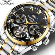 Guanqin Horloge Mannen Luxe Merk Beroemde Rvs Waterdichte Automatische Horloge Mannen Lichtgevende Hand Mechanische Horloges
