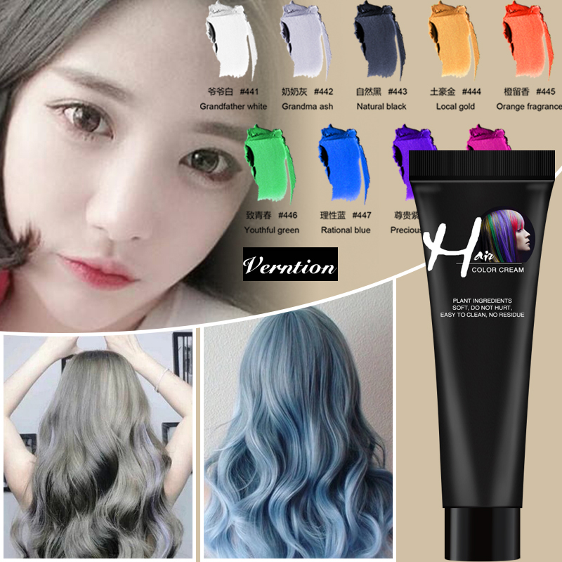 Verntion Hair Dye Color Disposable Hair Color Paste Cream Hair Dye Hair Gel Coloring Molding Wax Women Men Hair Styling Dirt DIY