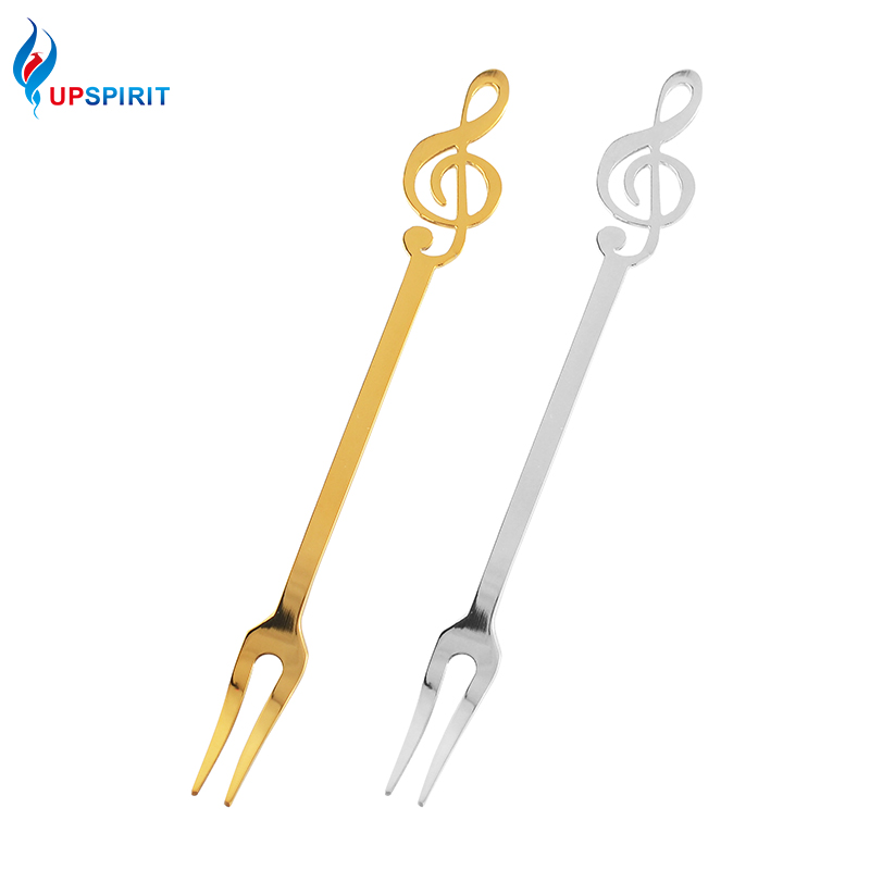 Upspirit Stainless Stell Fruit Forks Musical Note Cake Dessert Snack Flatware Luxury Gold Fruit Forks Home Party Tableware