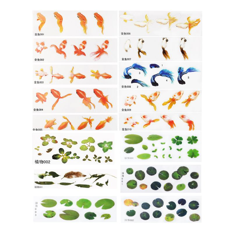 16 Pcs/set DIY Crystal Epoxy Filler 3D Resin Painted Goldfish Leaf Duckweed Filling Crafts Making Material Sticker T4MD