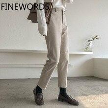 FINEWORDS повседневные шерстяные штаны-шаровары для женщин зимние свободные уличные брюки Капри мягкие прямые брюки с высокой талией размера плюс