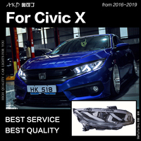 AKD Car Styling for Civic X Headlights 2016 2018 New Civic LED Headlight DRL All LED High Beam Low Beam Head Lamp Accessories