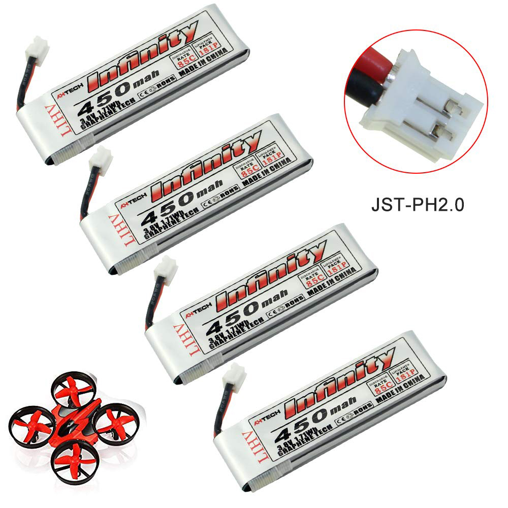 4 Packs Infinity Graphene 450mAh <font><b>1S</b></font> 3.8V 85C LIHV Tiny Whoop <font><b>LiPo</b></font> <font><b>Battery</b></font> with JST-PH 2.0 Powerwhoop Connector Micro FPV Drone image