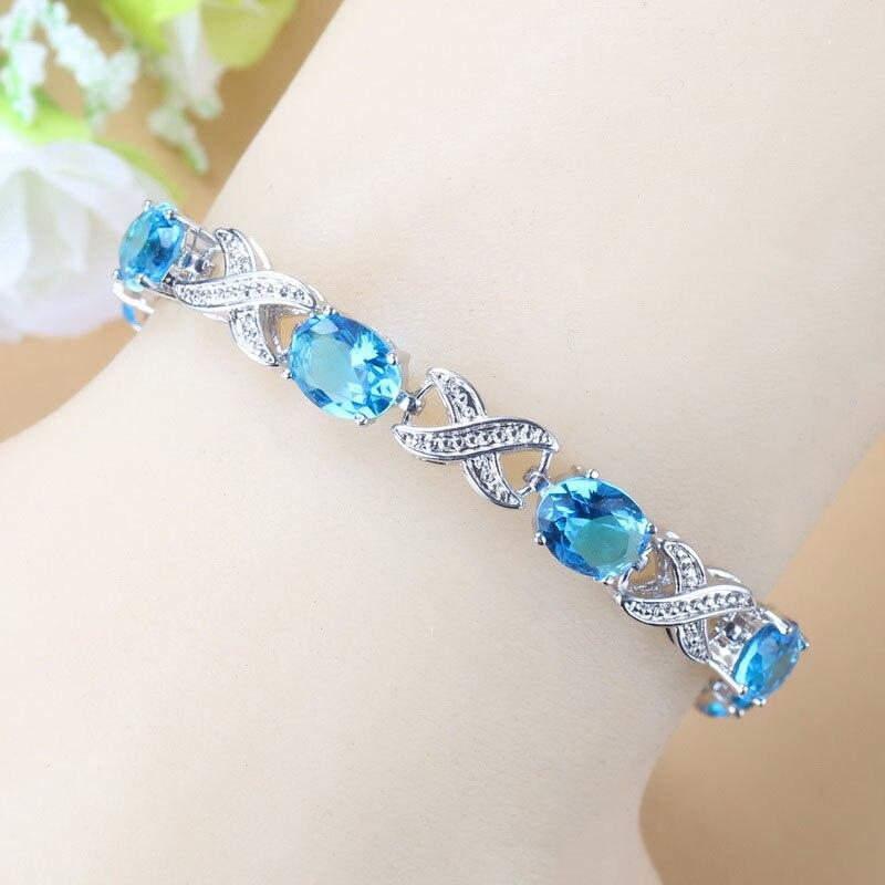 Женские свадебные украшения, небесно голубой браслет с кубическим цирконием, модный костюм|Цепочки и браслеты| | АлиЭкспресс