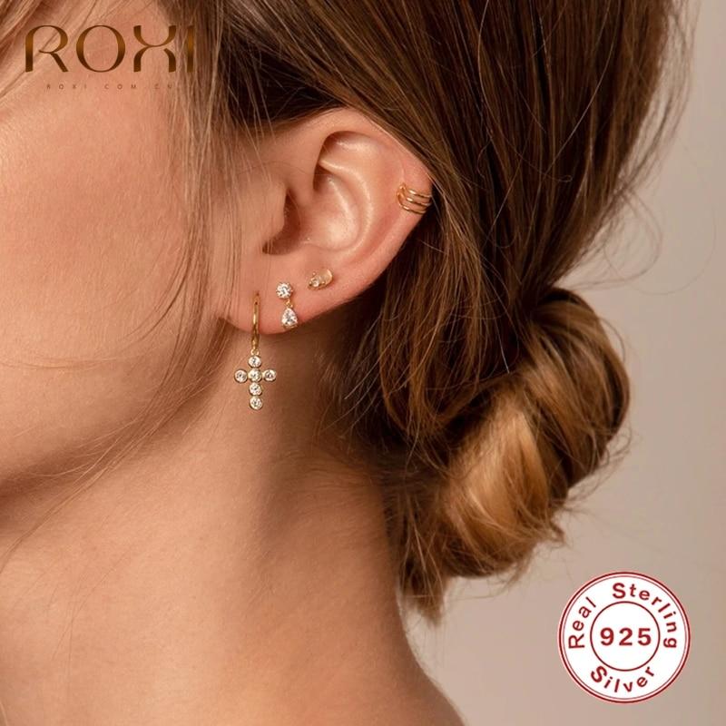 ROXI Elegant Sparkling Drop Cross Hoop Earrings for Women Engagement Wedding Earring Silver 925 Jewelry CZ Kolczyki Damskie