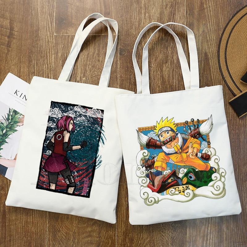 Naruto Boruto Fashion Canvas Bag Women Girls Simple Large Capacity Storage Handbag Shoulder Bag Tote Reusable Student Bookbag