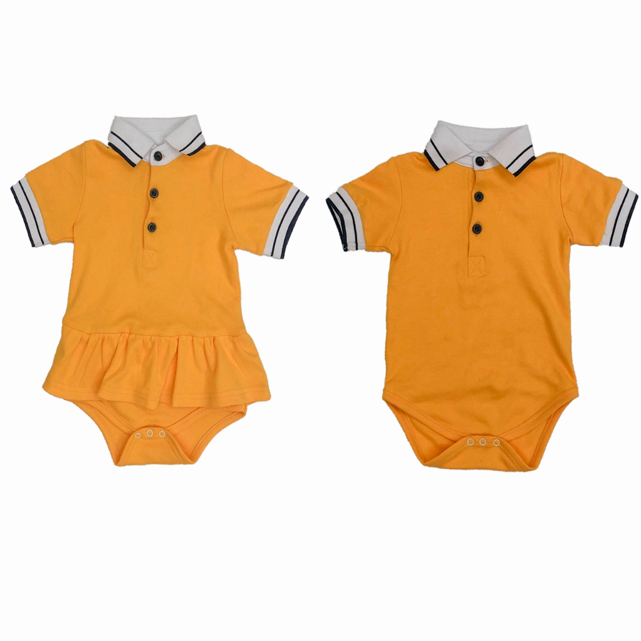 Infant Baby Twins Clothes Short Sleeve Lapel Collar Rompers Brother And Sister Clothing Solid Color One Piece Cotton Playsuit