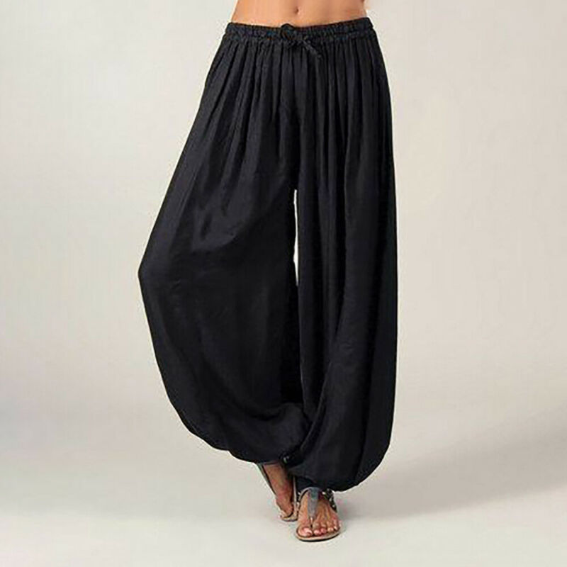 Women Pants Ali Baba Aladdin Style Solid Elastic Afghan Genie Hippie Loose Fashion Lady Dance Casual Pants Cotton Plus Size 3XL