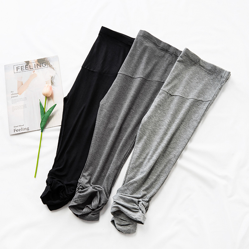 2001# Summer Thin Modal Maternity Legging High Waist Adjustable Belly Short Legging Clothes for Pregnant Women Pregnancy Capris