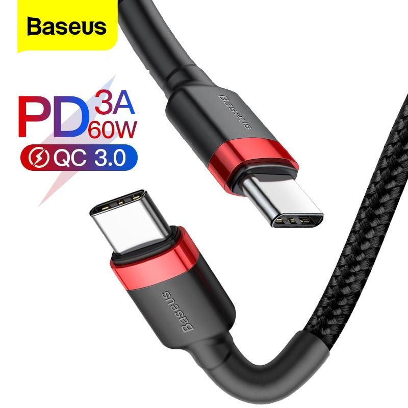 Baseus usb tipo c, cabo para usb tipo c para samsung s8 s9 plus xiaomi smartphone pd 60w cabo de carga rápida qc3.0 3a para tipo c