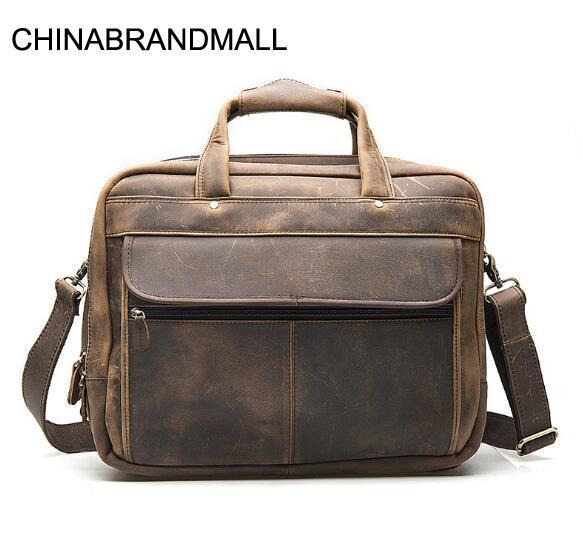 Genuine Leather Cow Skin Men Large Briefcase Business Laptop Handbag High Quality