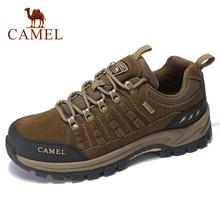 גמלים קלאסיקות סגנון גברים טיולים נעלי תחרה עד עור אמיתי גברים נעליים חיצוני אנטי להחליק נעלי טרקים לנשימה סניקרס