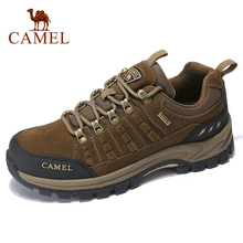 CAMEL Classics Style Men Hiking Shoes Lace Up Genuine Leather Men Shoes Outdoor Anti Slip Trekking Shoes Breathable Sneakers