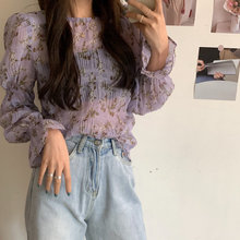 Alien Kitty Purple Flare Sleeves Chiffon Blouses Elegance Vintage 2020 Office Lady