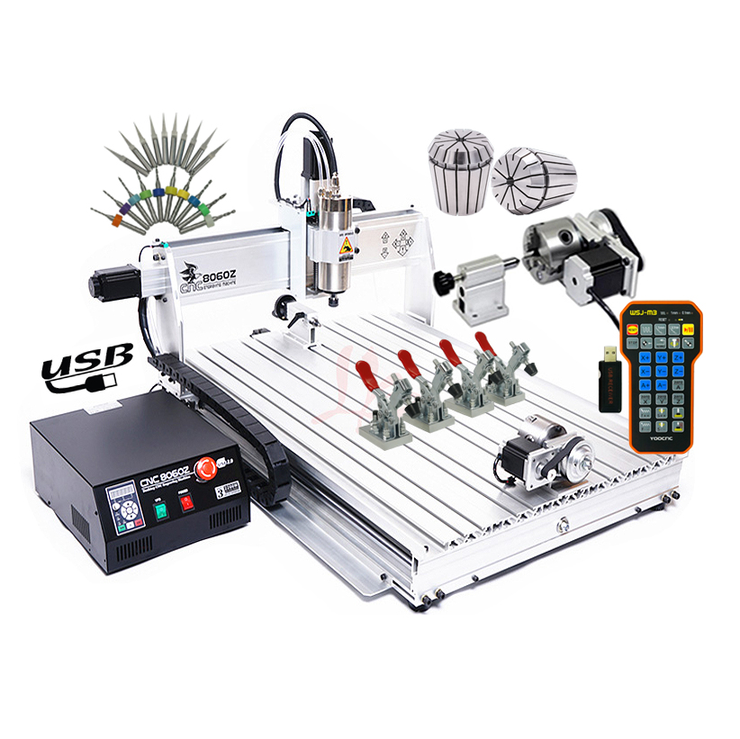 Russia Tax-free Shipping USB Mini CNC Router 8060 2200w 4 Axis CNC Engraving Machine With Ball Screw