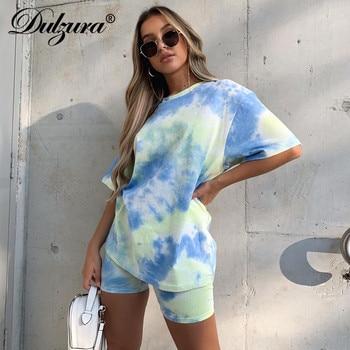 Dulzura Tie Dye Women Two Piece Set T Shirt Biker Shorts Streetwear 2020 Summer Loose Home Casual Lounge Wear Outfit Matching