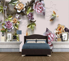 Custom wallpaper 3D new Chinese embossed rose TV background wall living room bedroom fashion home wallpaper 3d papel de parede