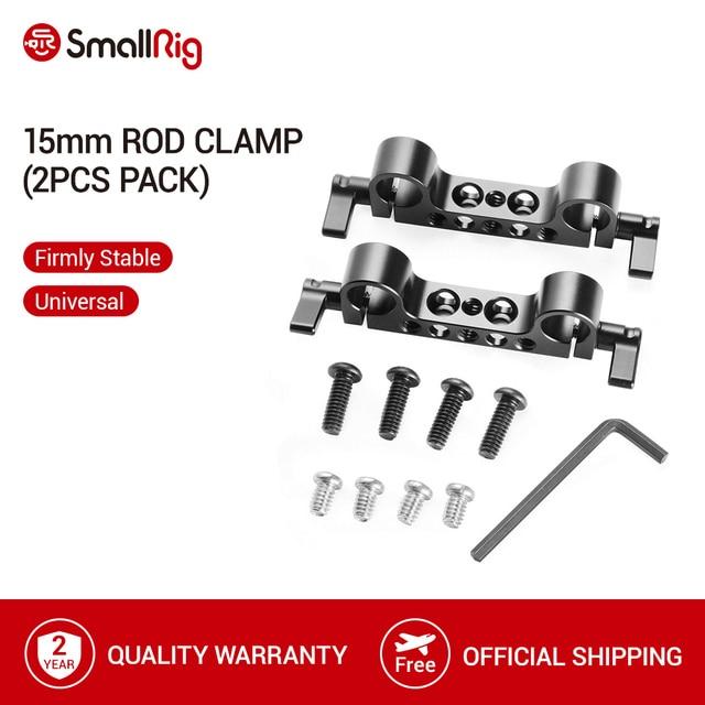 """SmallRig abrazadera de varilla de remolque de 15mm de peso ligero, con rosca de 1/4 """" 20 para Red y otros accesorios de cámara DSLR de 15mm, 2 uds. 2061"""