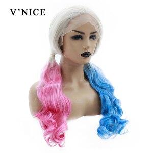 V'NICE Harley Quinn Cosplay włosy naturalne Glueless niebieski syntetyczna koronka peruka front dla kobiet różowy żaroodporne część środkowa peruki