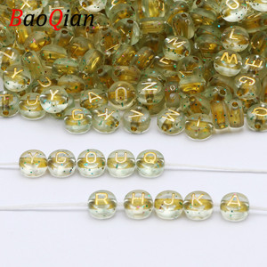 100/200/300/400/500pcs Transparent Starry Sky Acrylic Golden Letter Loose Beads For Jewelry Making Handmade Bracelet Necklace