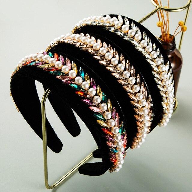 Vintage Luxury Sparkly Full Crystal Pearl Hairband  3