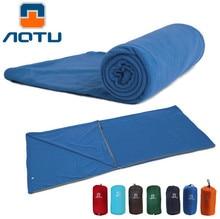 AOTU Ultra-light Portable Polar Fleece Sleeping Bag Ultralight Spring Winter Sleeping Bag Liner for Camping Travel with Carry