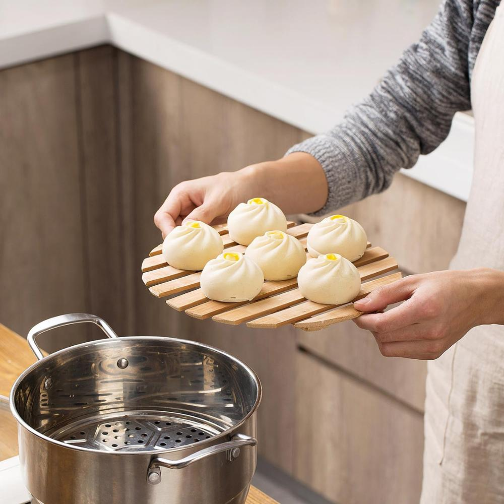 Bamboo Steamer Shelf Pan Pot Mat Pad Steaming Tray Cookware Dumpling Steamer Instant Pot Holder Kitchen Cooking Tools