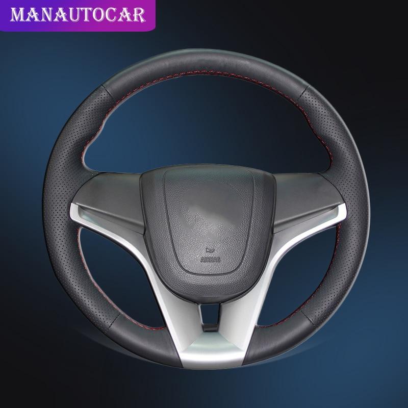 Holden Cruze Genuine Leather Steering Wheel Cover Brown Orange Blue /& White