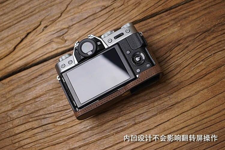 Image 3 - AYdgcam Genuine Leather Camera case Handmade Video Half Bag For Fuji Fujifilm XT10 XT20 XT30 Retro Vintage Bottom Case-in Camera/Video Bags from Consumer Electronics