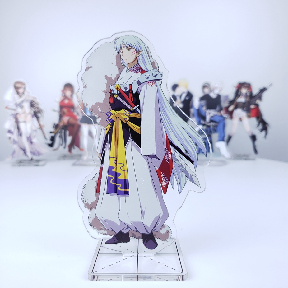 Anime Inuyasha Sesshoumaru Transparent Higurashi Acrylic Stand Figure Decoration Cosplay Desk Decor Collection Model Gift 15cm