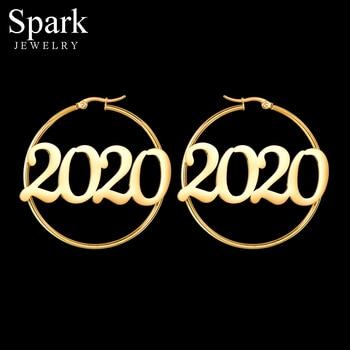 Spark 1 Pair Stainless Steel Custom Number Year Hoop Earrings Handmade Personalized Big Circle Earrings For Women Birthday Gifts цена 2017