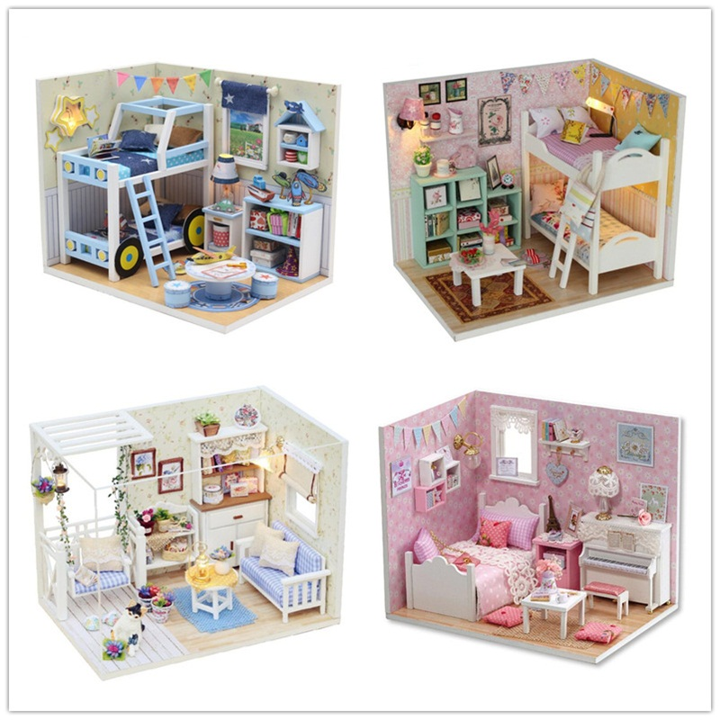 MINI DIY Doll House and dolls Wooden Doll Houses Miniature Doll house Furniture Kit with LED Toys for children Christmas Gift