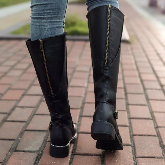 2019 Knees Square Heel Boots Women PU Leather Suede Matte Boots Slip on Zapatos De Mujer Solid Riding Knight Boots Winter Shoes 31