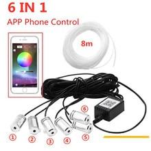 6 in 1 Bluetooth telefon kontrolü ses aktif EL Neon şerit ışık RGB LED araba iç ışık çok renkli mavi atmosfer ışığı 12V