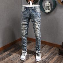 Włoski styl modne dżinsy męskie wysokiej jakości Retro pranie Slim zgrywanie spodnie dżinsowe Streetwear Vintage Designer spodnie Hip hopowe tanie tanio CN (pochodzenie) Zipper fly HOLE Stałe Denim D1-643 Ołówek spodnie Medium Szczupła JEANS Midweight Pełnej długości