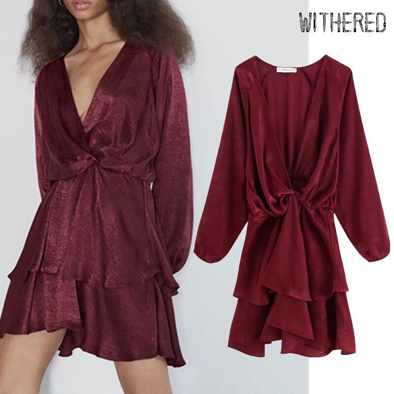 Withered England Urban Vintage Ruffles Cascading Satin V-neck Vestidos De Fiesta De Noche Vestidos Autumn Dress Women Top Blazer