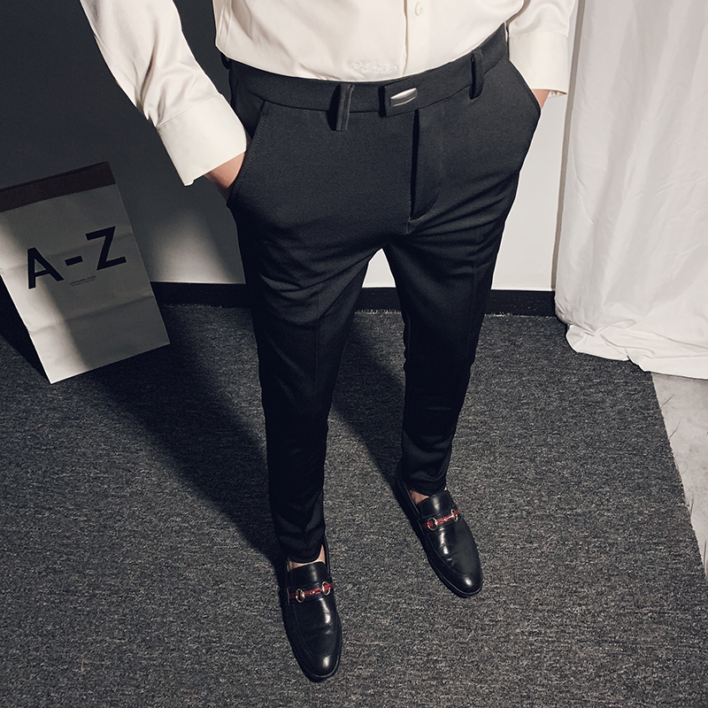 NEW Men's Business Suit Pant Ankle Length Casual Mens Dress Pants 2020 Spring High Quality Formal Work Trousers Pantalon 28-36