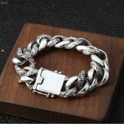 S925 стерлингового серебра моды гегемония Преувеличение мужской браслет индивидуальный тайский серебряный грубый браслет для мужчин