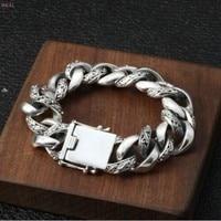 S925 Sterling Silver Fashion hegemony Exaggeration Men's Bracelet Individual Thai Silver Rough Bracelet for men