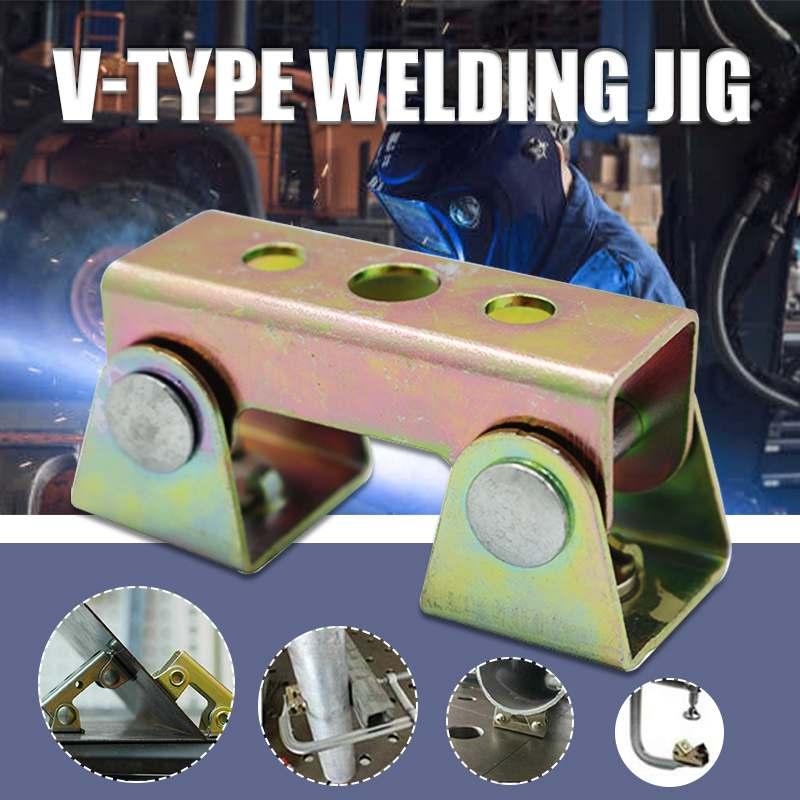 V Type Welding Jig Adjustable Magnetic Welding Clamps V Pads Fixture Holder Strong Welder Hand Tool