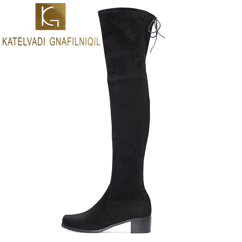KATELVADI Black Flock Slim Boots Fashion Over The Knee High Women 4.5CM Square Heels Lace-Up Autumn Thigh K-539