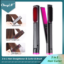 CkeyiN 3IN1 Hair Curler Straightener Brush Comb LED Display Curling Wand Flat Iron Hair Styling Tools 12 Adjustable Temperature