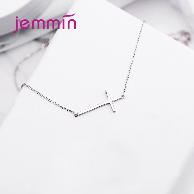 100% Real Pure New 925 Sterling Silver Smooth Cross Necklaces Pendants for Women Wedding Engagement Statement Jewelry