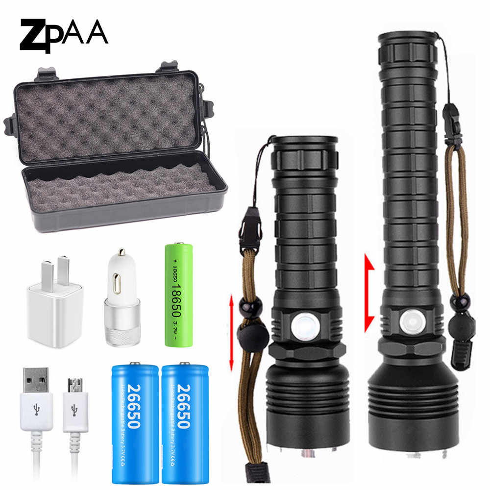 90000LM XHP70.2 LED Flashlight Powerful XLamp XHP50 Rechargeable USB Zoom Torch XHP70 18650 26650 Hunting Lamp Self Defense Lamp