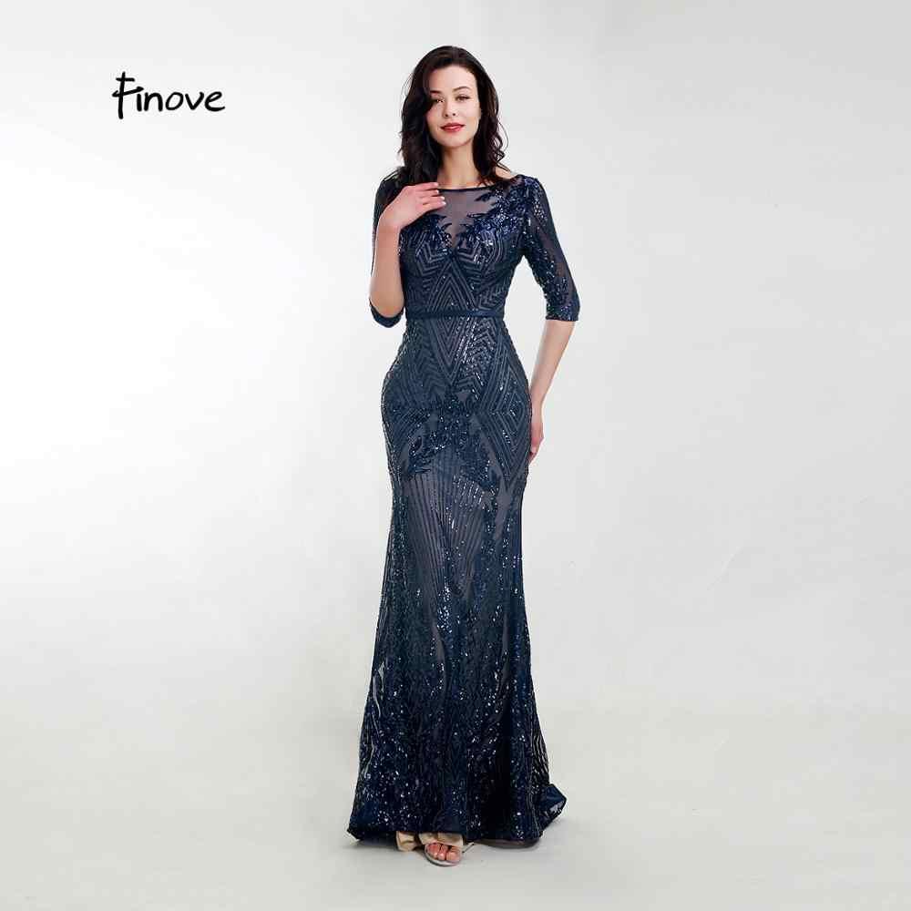 Finove Elegante Abendkleid Lange 10 Dark Blue Sparkle Pailletten