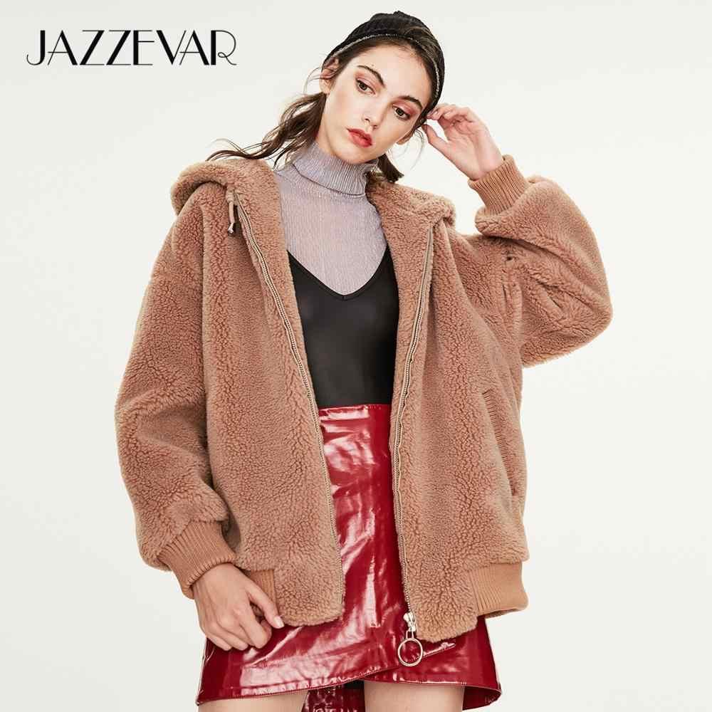 JAZZEVAR 2019 Winter neue ankunft pelz mantel frauen oberbekleidung qualität lose kleidung teddy bär jacke winter mantel frauen K9051