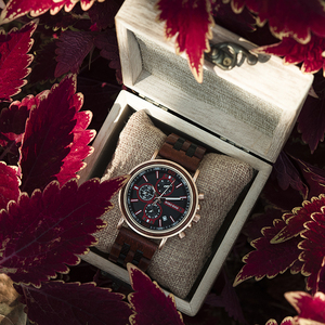 Image 5 - BOBO BIRD reloj de madera para hombre, cronógrafo militar, cronómetro masculino, muestra fecha para regalos de novio