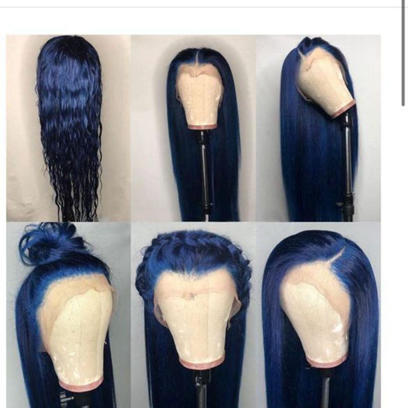 Preferred Preplucked Blue Lace Front Wig With Baby Hair Brazilian Remy 30inch Straight Full Lace Human Hair Wigs For Black Women